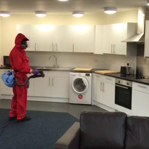 Fog is safe for indoors use as shown being used on these food preparation surfaces